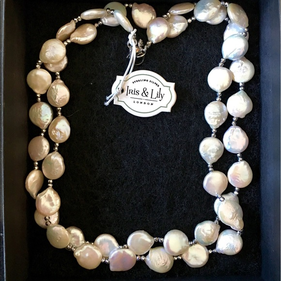 Jewelry Iris Lily Coin Pearl Necklace 36 Poshmark