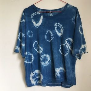 BLK DNM Tops - Indigo Tie Dyed Oversized Knit Top T-Shirt