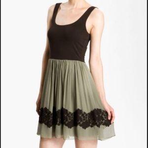 Bailey 44 brown green silk lace tank dress NWT S