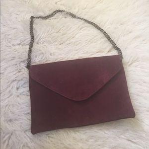 J. Crew maroon suede shoulder bag