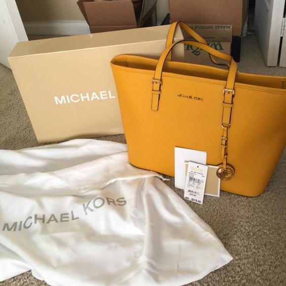 7737d080660 Michael Kors Bags   Sale Yellow Jet Set Travel Tote Bag   Poshmark