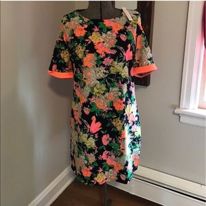 Neon floral shift dress Med