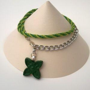 Jewelry - Handmade Green Kumihimo Wrap Bracelet
