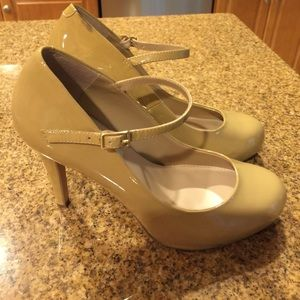 """Steve Madden """"Realize"""" Nude Patent Leather Pumps"""