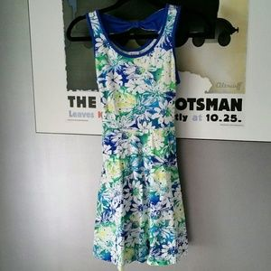 Justice Other - Girls blue and green floral dress