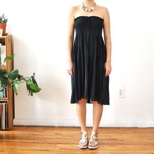 VTG Tassel-tie linen strapless dress