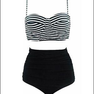 Other - Women's High Waisted Striped Bikini bottoms