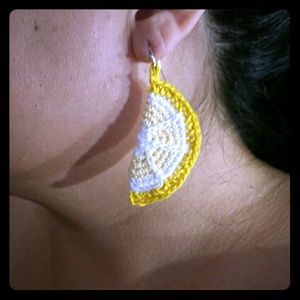 LEMON WEDGES CROCHET EARRINGS HAND MADE BY US