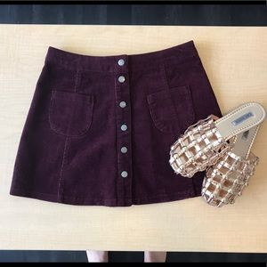 Brandy Melville Button Up Corduroy Skirt
