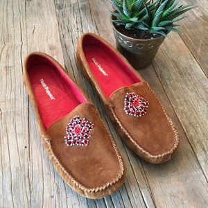 Hush Puppies Shoes - Hush Puppies Brown Suede Leather Beaded Moccasins