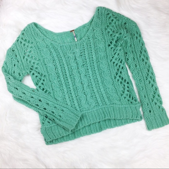Free People Sweaters 54 Mint Green Cable Knit Sweater Poshmark