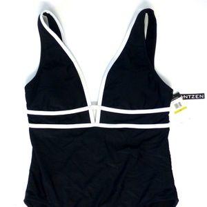 Jantzen Other - Jantzen plunge maillot 1 piece sporty swimsuit nwt