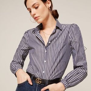 Reformation Shea Blue Pinstripe Button Up Blouse