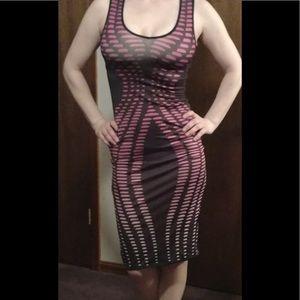 NEW Black/Pink Pattern Stretch Dress