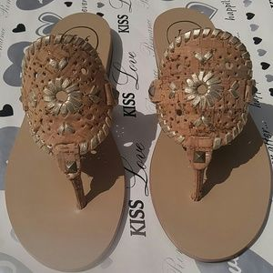 Jack Rogers Shoes - Jack Rogers Georgica Raffia Cork Sandals