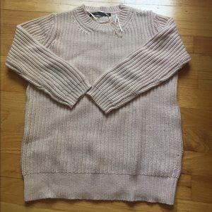 Blush pink Zara 3 quarter sleeve sweater size M