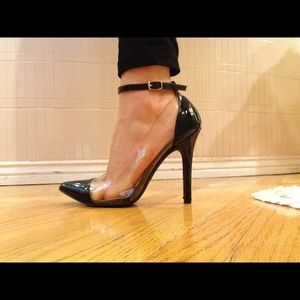 Qupid Shoes - Black Strappy Acrylic Pumps