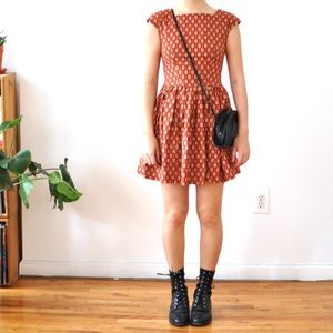 Arrow-print fit and flare handmade dress