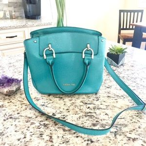 London Fog Turquoise Vegan Leather Crossbody Bag