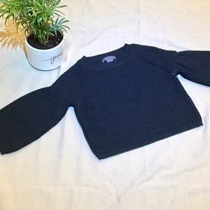 Gracia Sweaters - NWOT Gracia NY black knit bell sleeve crop top