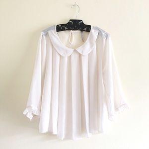 peter pan collar chiffon blouse
