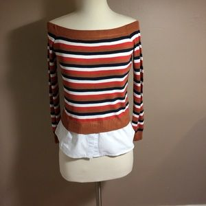 English Factory Sweaters - English Factory Striped Off the Shoulder Sweater
