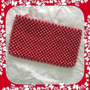 Red Wood Beaded Clutch / Purse / VINTAGE