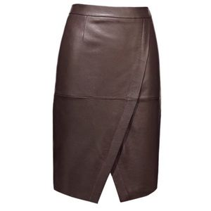 Halogen Notched Hem Leather Skirt