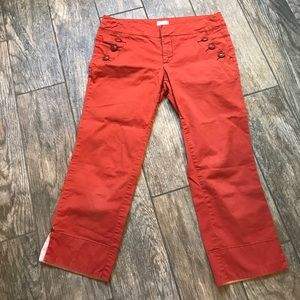 Anthropologie Rust Orange Capri Pants