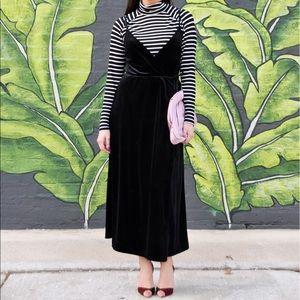 WhoWhatWear Dresses & Skirts - WhoWhatWear black velvet wrap dress with tassels.