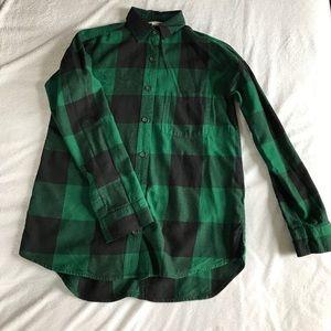 Old Navy Tops - Old Navy green plaid shirt.