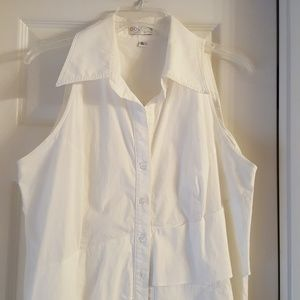 White Cotton/Spandex blend Blouse