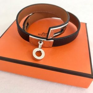 Hermes Jewelry - Hermes Kelly black leather Double Tour bracelet