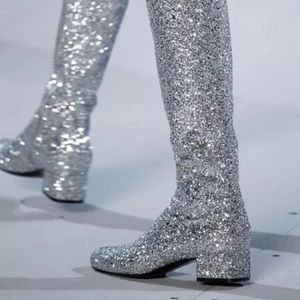 Hogan Shoes - HOGAN knee high silver glitter boots sz 9
