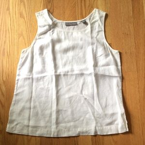 Kate Hill Tops - White linen tank! Woven, not knit!