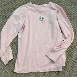 Life is Good brand pink sweatshirt with logo