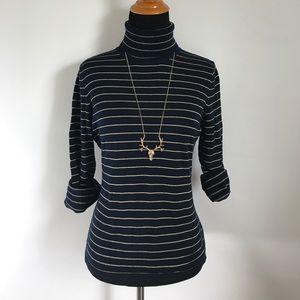 Ralph Lauren Sweaters - Ralph Lauren Navy Blue Gold Striped Turtleneck P/S