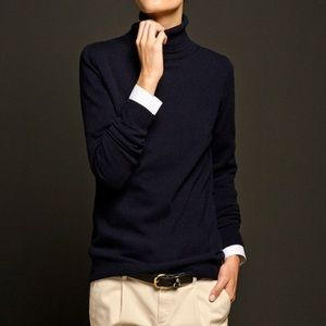 Ralph Lauren Navy Blue Gold Striped Turtleneck P/S