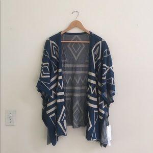 Blue and White Kimono Shawl