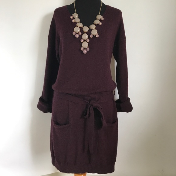 Vince Dresses & Skirts - Vince Burgundy Dark Purple Wool Sweater Dress XS
