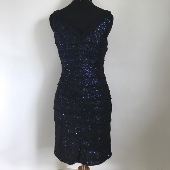 Express Dresses - Express Black and Navy Sequin Mesh Cocktail Dress