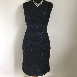 Express Black and Navy Sequin Mesh Cocktail Dress