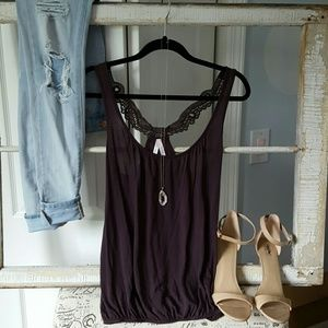 Sparkle & Fade Tops - Urban Outfitters Lacey Back Purple/Grey Tank