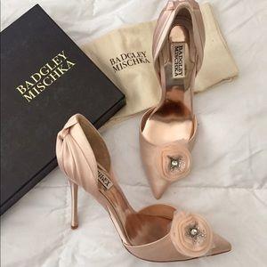 Badgley Mischka Genny Pink Satin heels