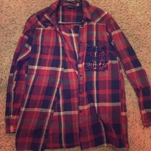 Eleven Paris Tops - Eleven Paris Red Plaid Flanel w/ Spikes 36 Small