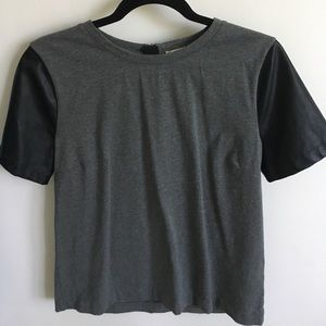 J. Crew Factory Tops - Grey top with black leather sleeves