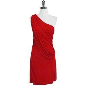 Haute Hippie Draped One Shoulder Red Dress