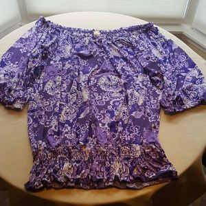 Long Elegant Legs Tops - ! FINAL SALE ! Purple Floral Top (Tall XL)