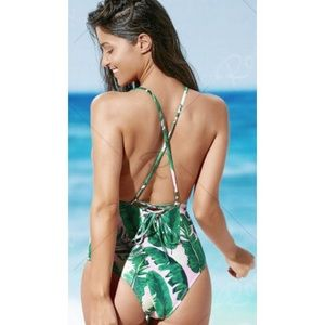 6fd723ae141ed Palm Print Strappy One Piece Swimsuit