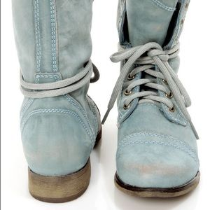Steve Madden Troopa Blue Leather Combat Boots